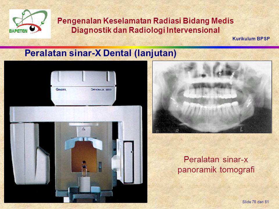 Peralatan sinar-x panoramik tomografi