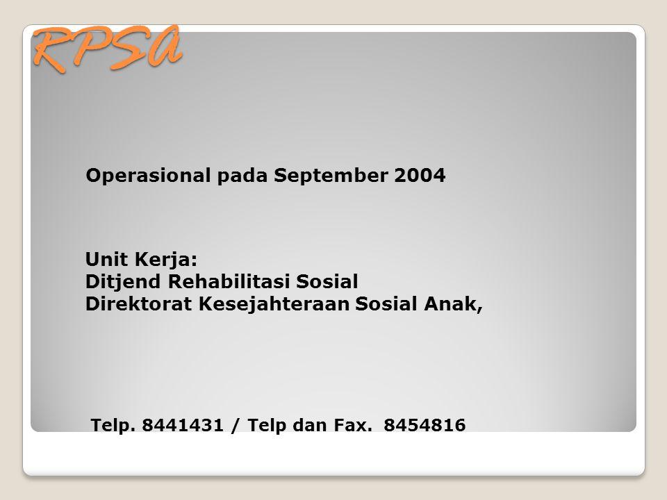 RPSA Operasional pada September 2004 Unit Kerja: