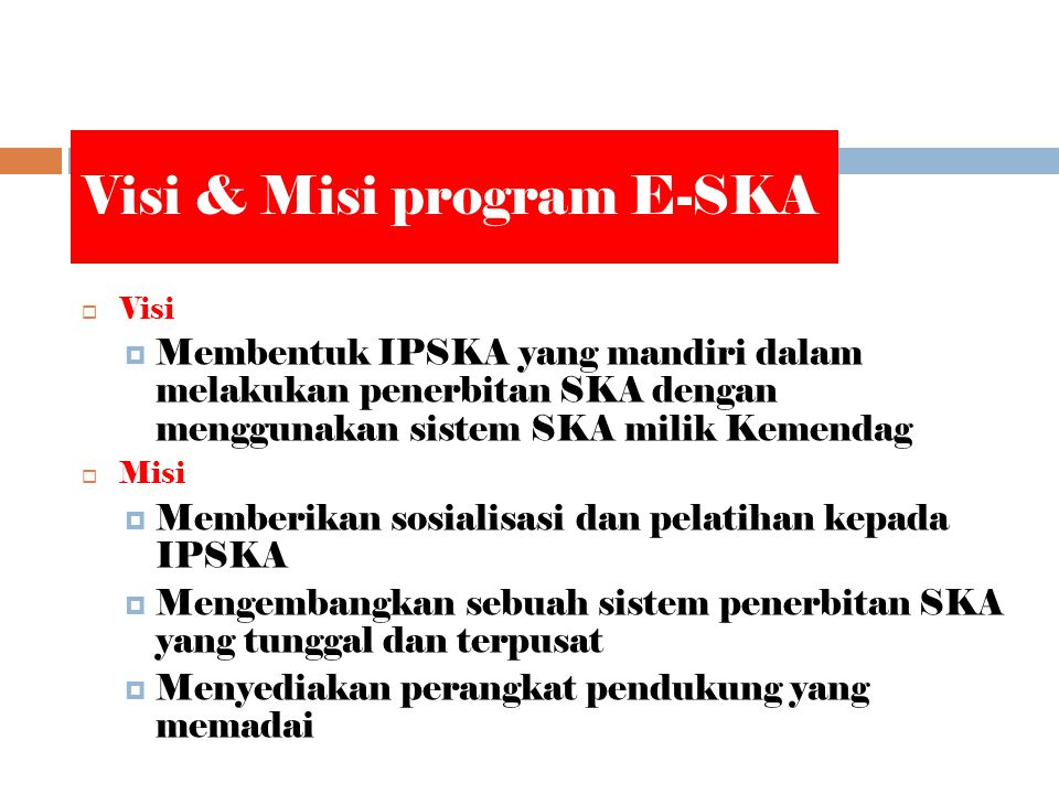 Visi & Misi program E-SKA