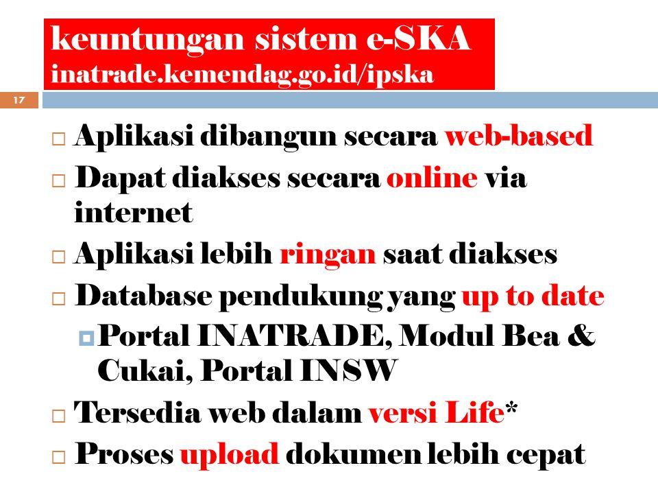 keuntungan sistem e-SKA inatrade.kemendag.go.id/ipska