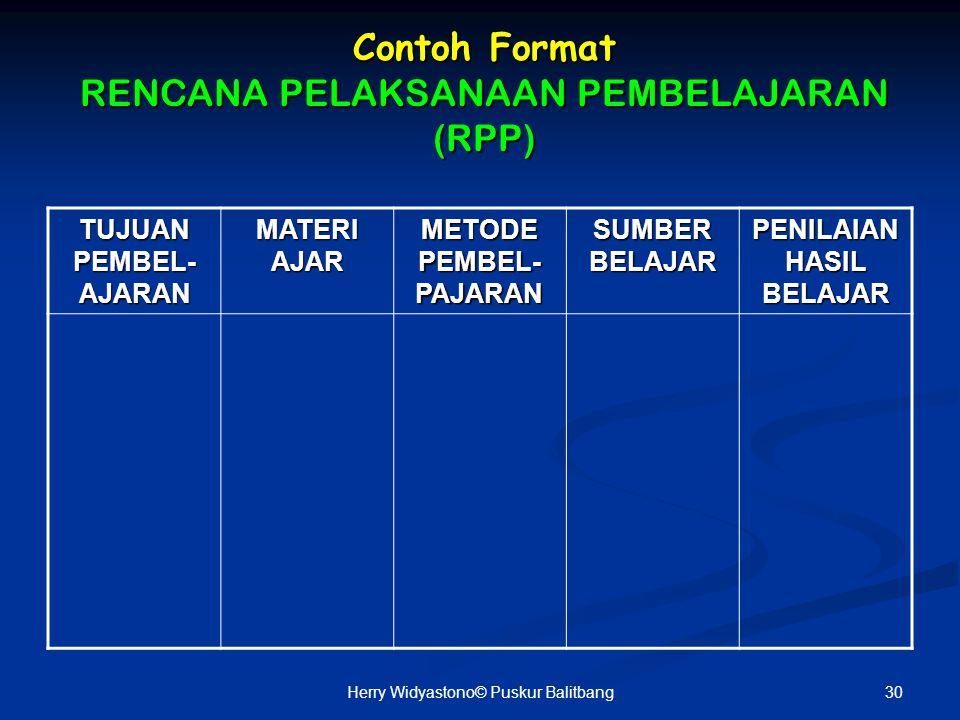 Contoh Format RENCANA PELAKSANAAN PEMBELAJARAN (RPP)