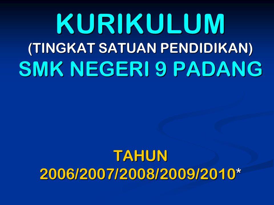 KURIKULUM (TINGKAT SATUAN PENDIDIKAN) SMK NEGERI 9 PADANG TAHUN 2006/2007/2008/2009/2010*