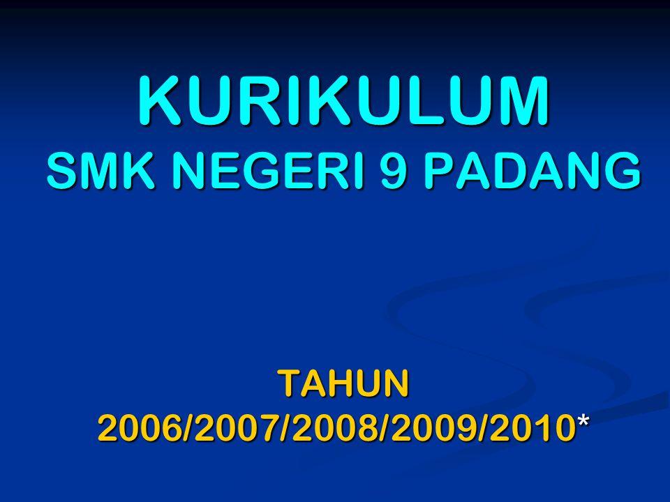 KURIKULUM SMK NEGERI 9 PADANG TAHUN 2006/2007/2008/2009/2010*