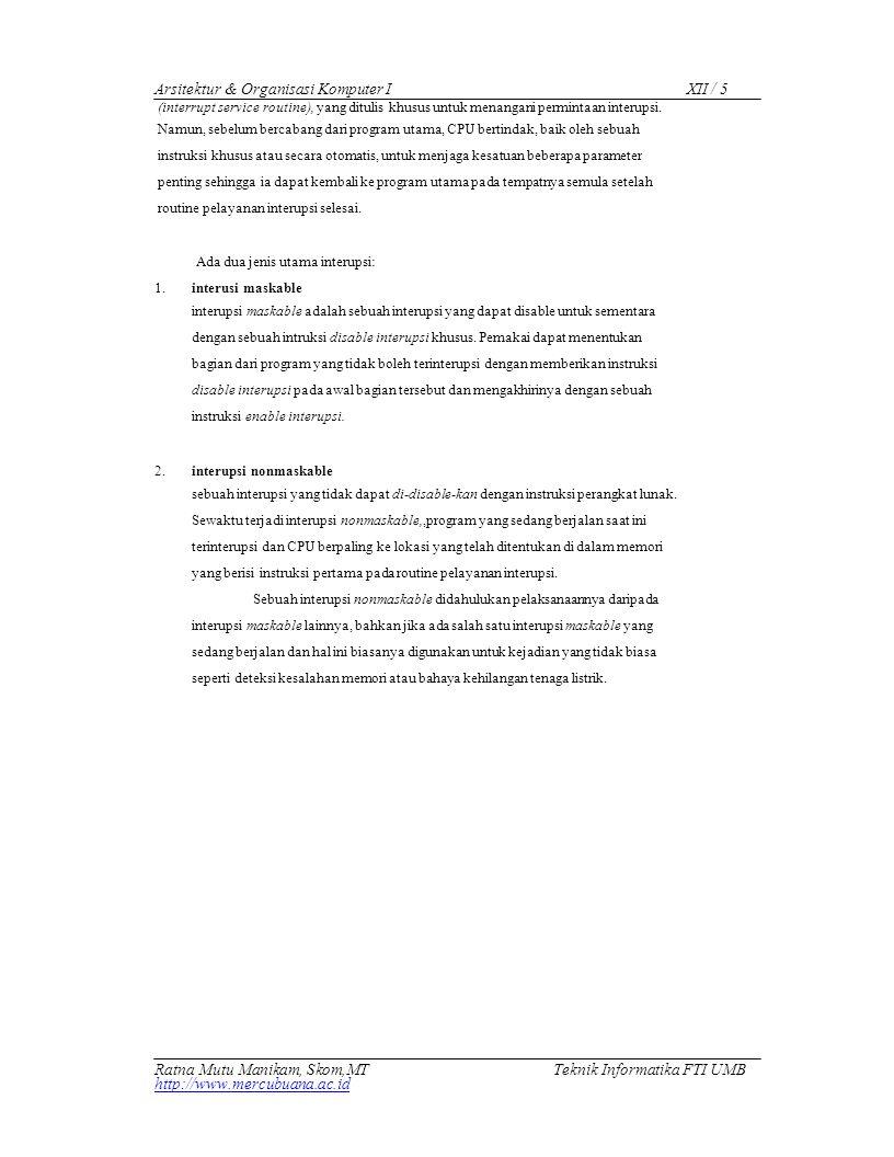 Arsitektur & Organisasi Komputer I XII / 5