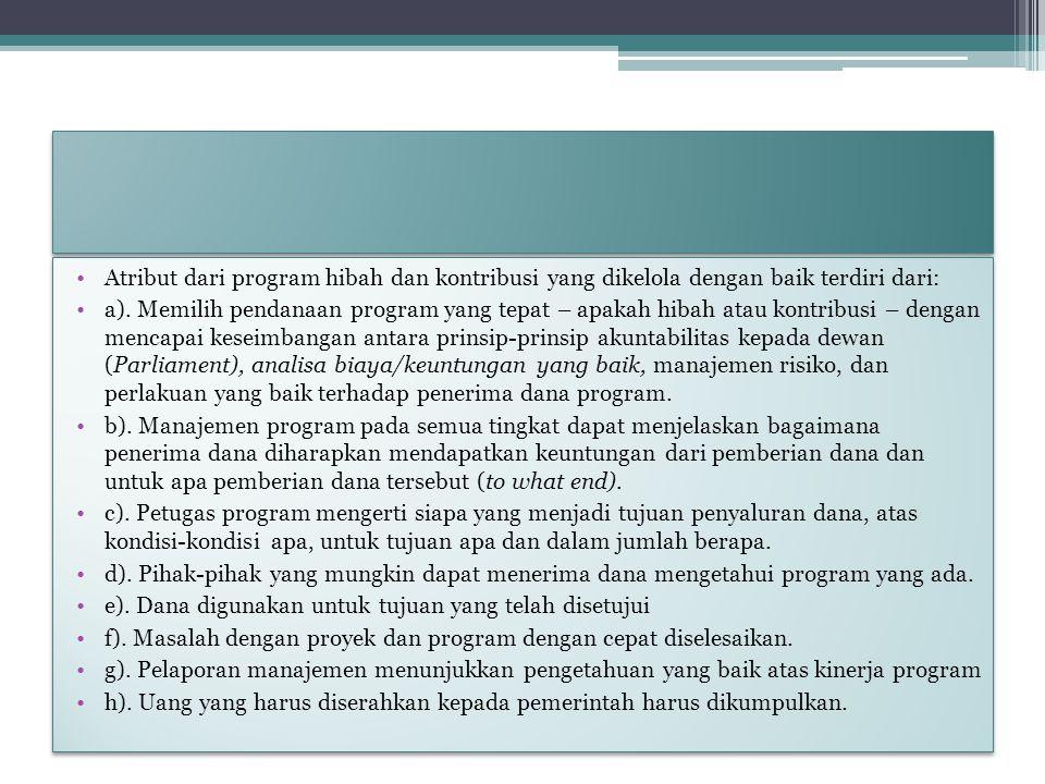 Atribut dari program hibah dan kontribusi yang dikelola dengan baik terdiri dari:
