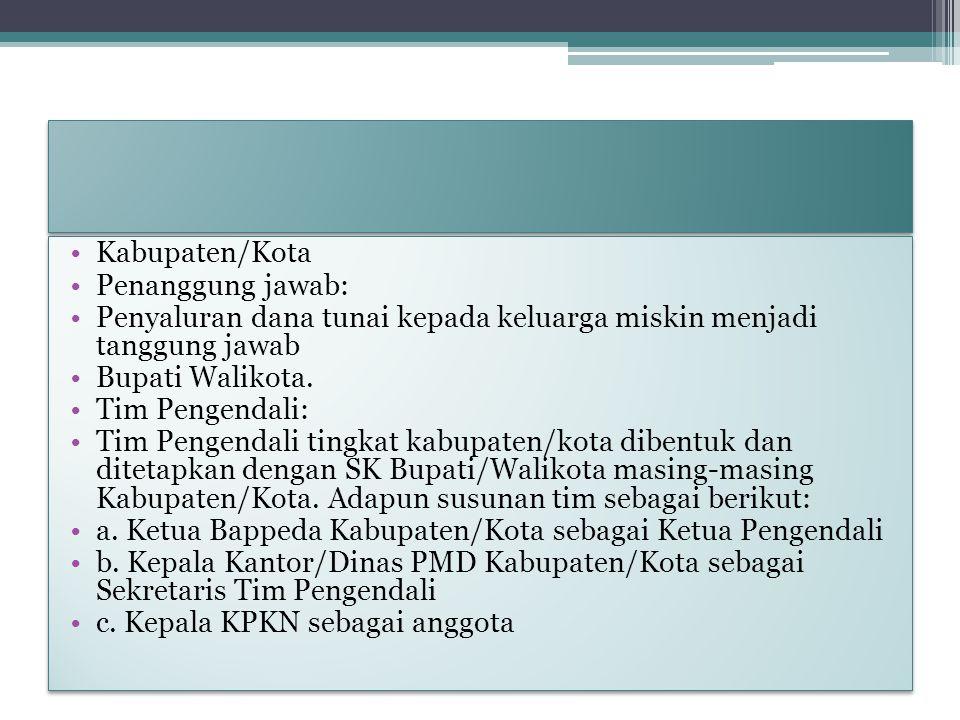 Kabupaten/Kota Penanggung jawab: Penyaluran dana tunai kepada keluarga miskin menjadi tanggung jawab.