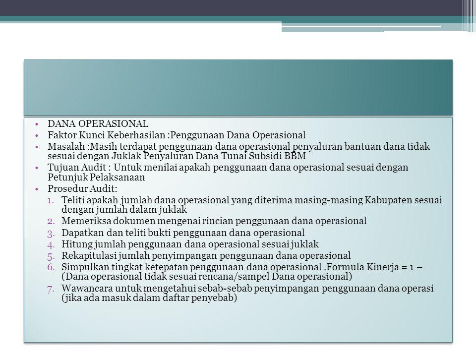 DANA OPERASIONAL Faktor Kunci Keberhasilan :Penggunaan Dana Operasional.