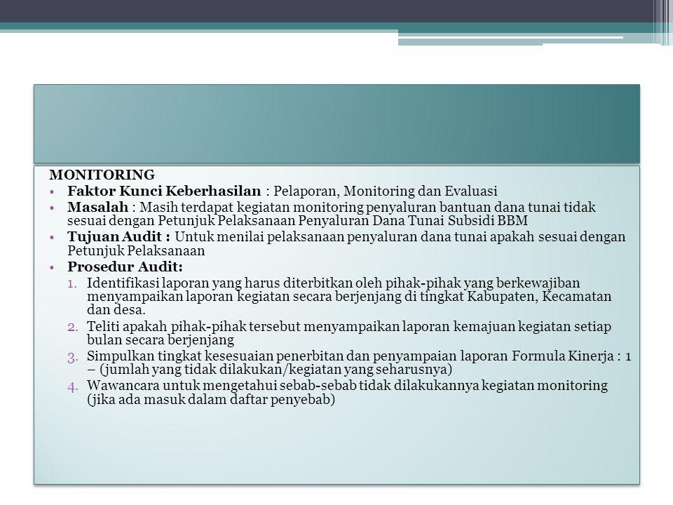 MONITORING Faktor Kunci Keberhasilan : Pelaporan, Monitoring dan Evaluasi.