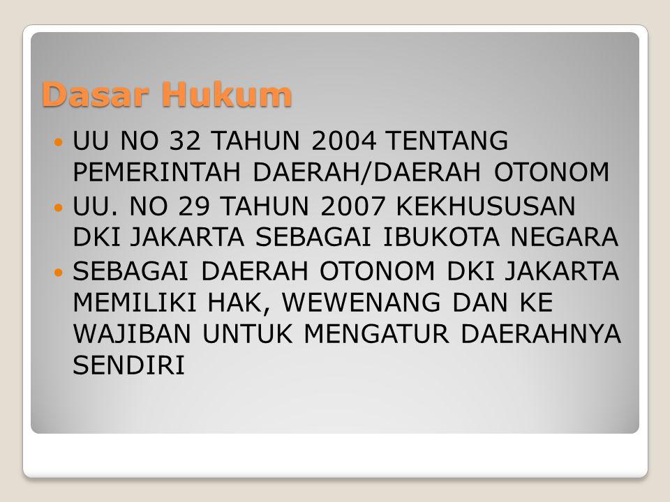 Dasar Hukum UU NO 32 TAHUN 2004 TENTANG PEMERINTAH DAERAH/DAERAH OTONOM. UU. NO 29 TAHUN 2007 KEKHUSUSAN DKI JAKARTA SEBAGAI IBUKOTA NEGARA.