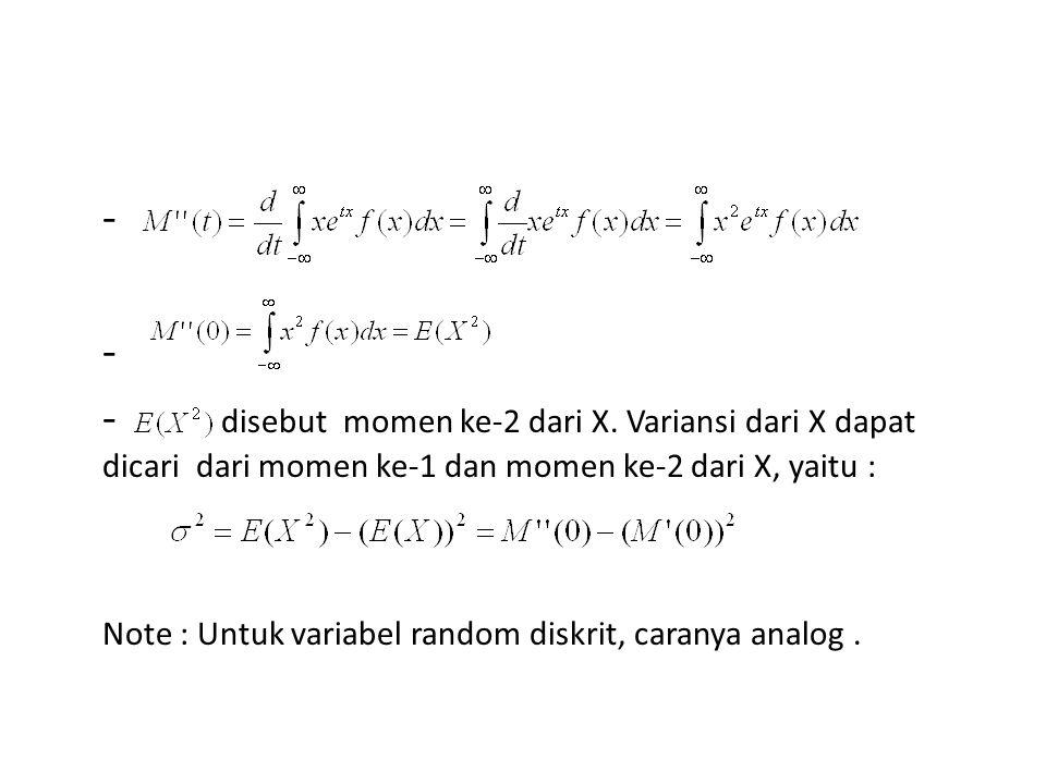- - disebut momen ke-2 dari X. Variansi dari X dapat dicari dari momen ke-1 dan momen ke-2 dari X, yaitu :