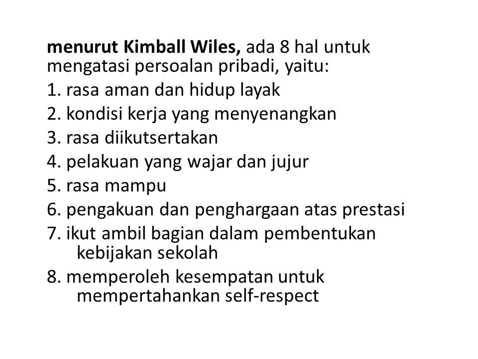 menurut Kimball Wiles, ada 8 hal untuk mengatasi persoalan pribadi, yaitu: 1.