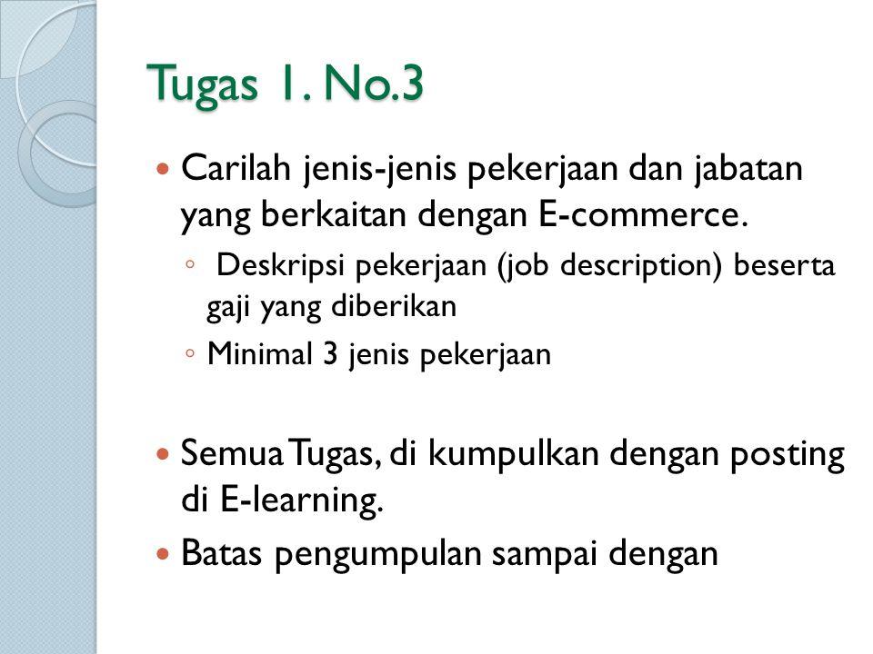 Tugas 1. No.3 Carilah jenis-jenis pekerjaan dan jabatan yang berkaitan dengan E-commerce.