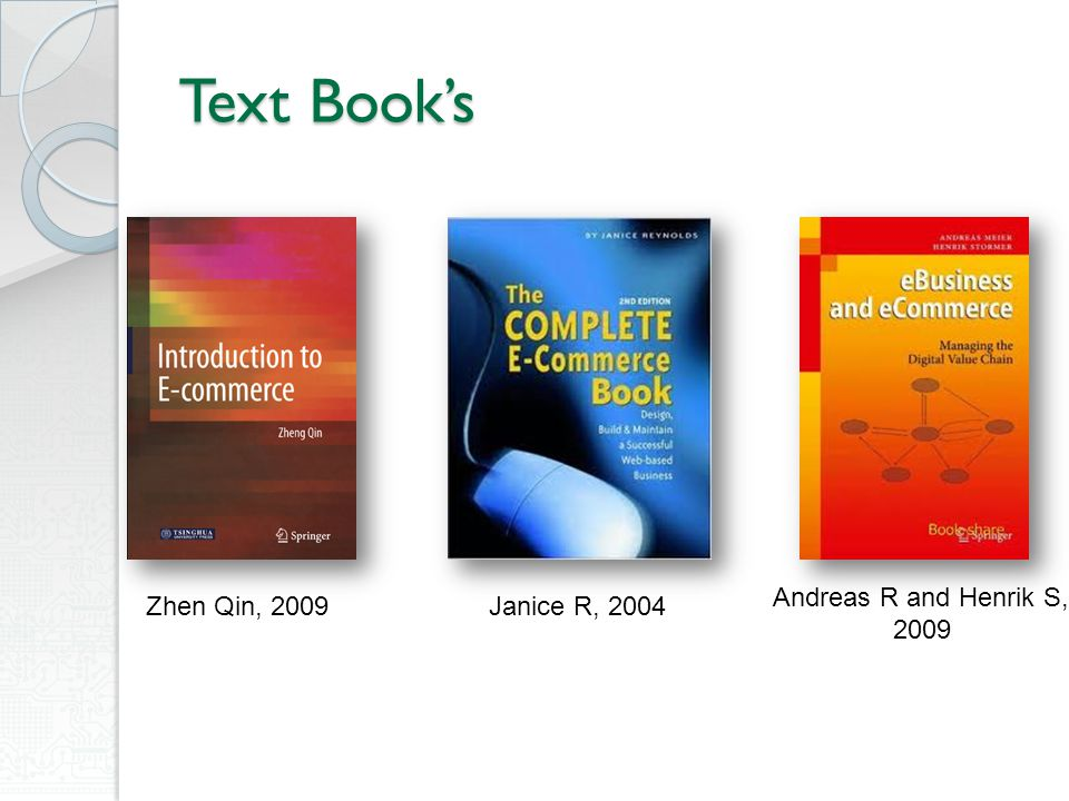 Text Book's Andreas R and Henrik S, 2009 Zhen Qin, 2009 Janice R, 2004