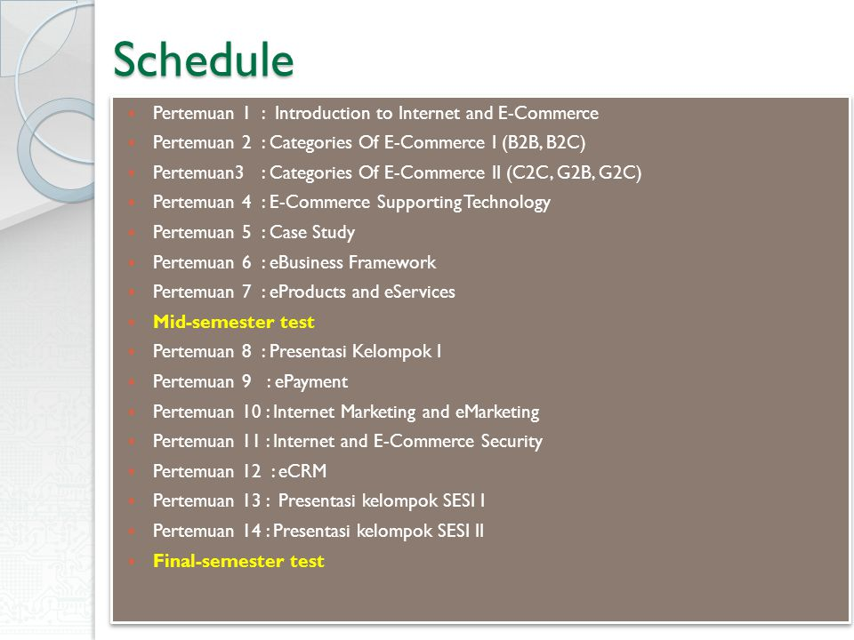 Schedule Pertemuan 1 : Introduction to Internet and E-Commerce