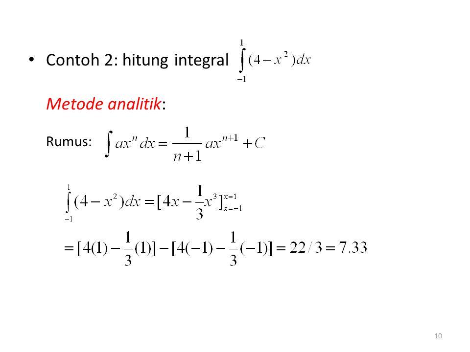 Contoh 2: hitung integral Metode analitik: