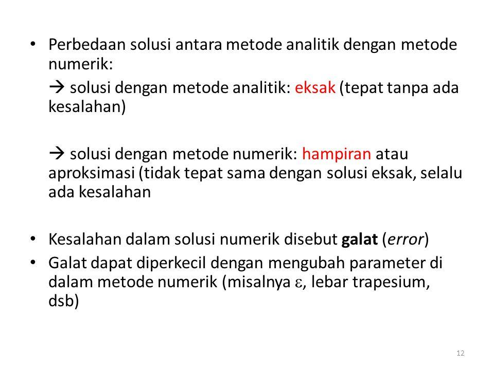 Perbedaan solusi antara metode analitik dengan metode numerik: