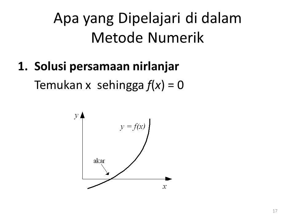 Apa yang Dipelajari di dalam Metode Numerik