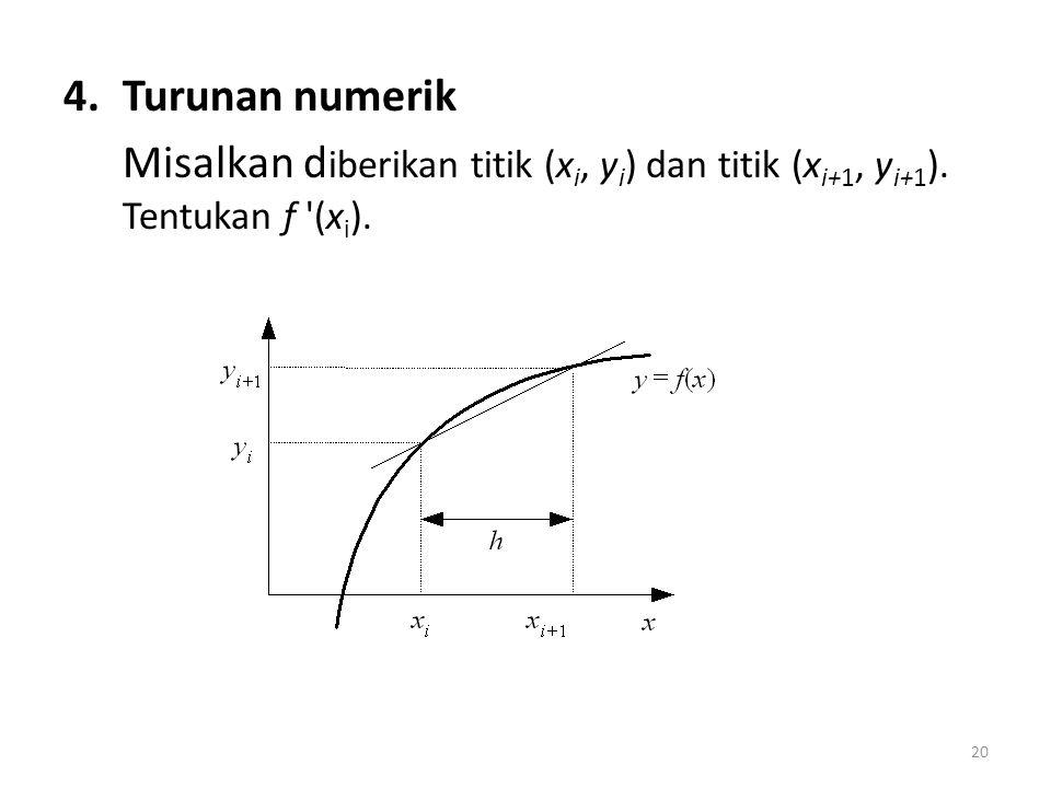 Turunan numerik Misalkan diberikan titik (xi, yi) dan titik (xi+1, yi+1). Tentukan f (xi).