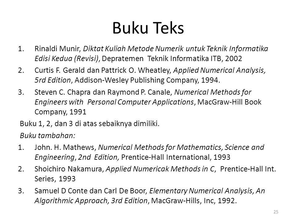 Buku Teks Rinaldi Munir, Diktat Kuliah Metode Numerik untuk Teknik Informatika Edisi Kedua (Revisi), Depratemen Teknik Informatika ITB, 2002.