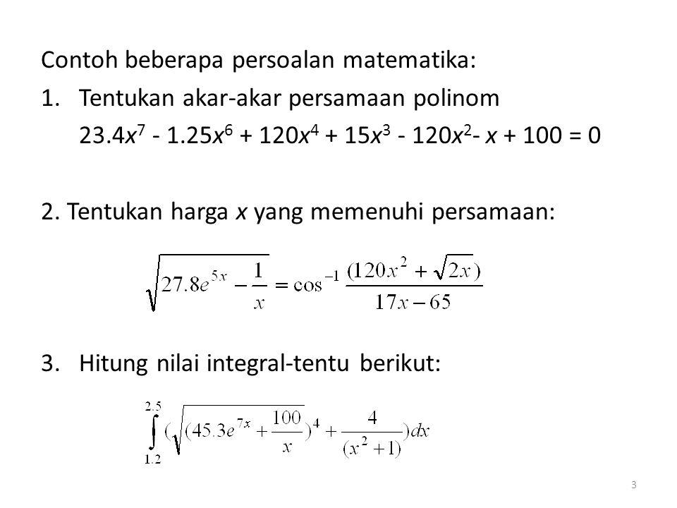Contoh beberapa persoalan matematika: