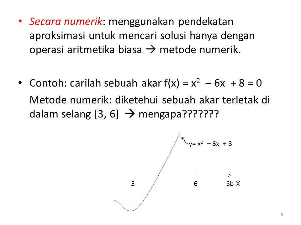 Contoh: carilah sebuah akar f(x) = x2 – 6x + 8 = 0