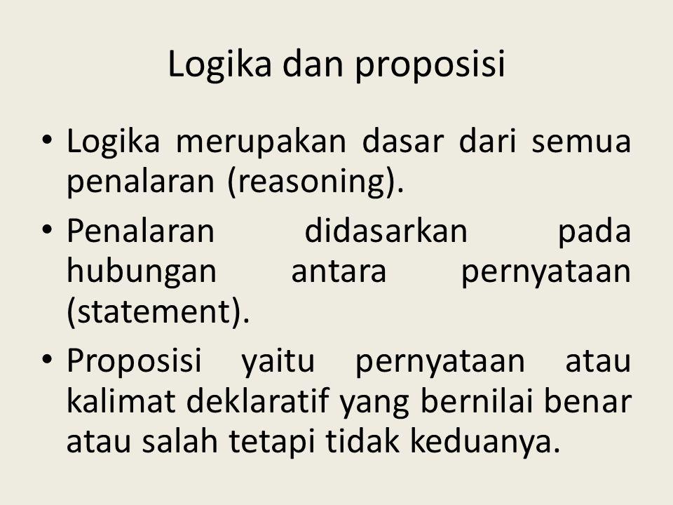 Logika dan proposisi Logika merupakan dasar dari semua penalaran (reasoning). Penalaran didasarkan pada hubungan antara pernyataan (statement).