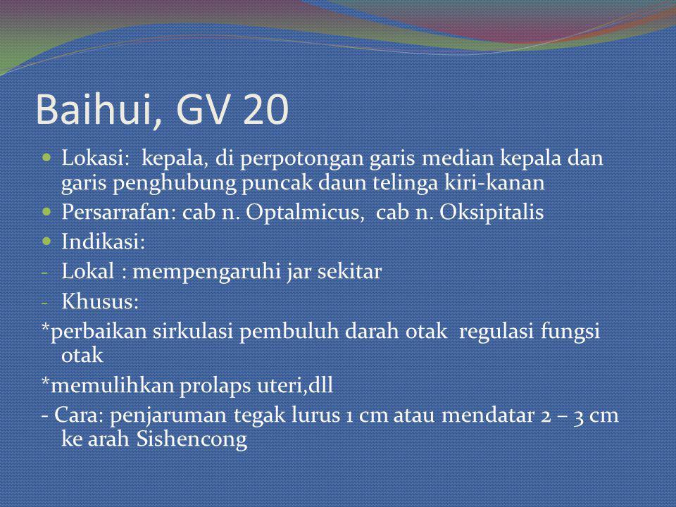 Baihui, GV 20 Lokasi: kepala, di perpotongan garis median kepala dan garis penghubung puncak daun telinga kiri-kanan.