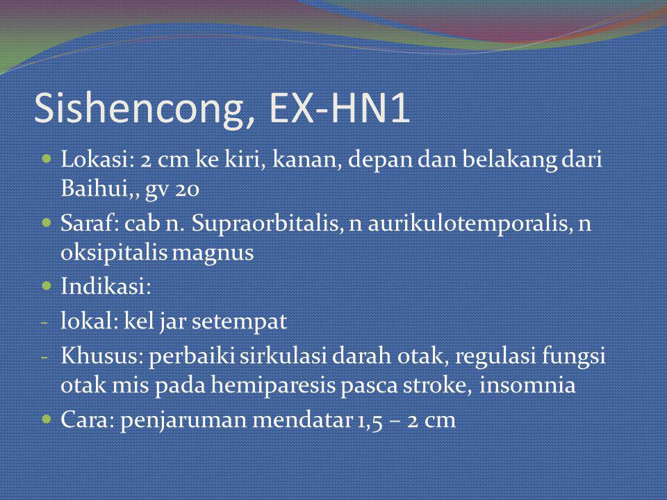 Sishencong, EX-HN1 Lokasi: 2 cm ke kiri, kanan, depan dan belakang dari Baihui,, gv 20.