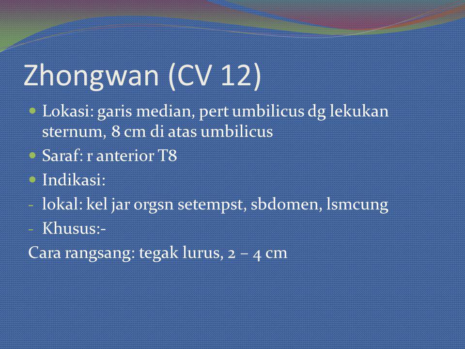 Zhongwan (CV 12) Lokasi: garis median, pert umbilicus dg lekukan sternum, 8 cm di atas umbilicus. Saraf: r anterior T8.