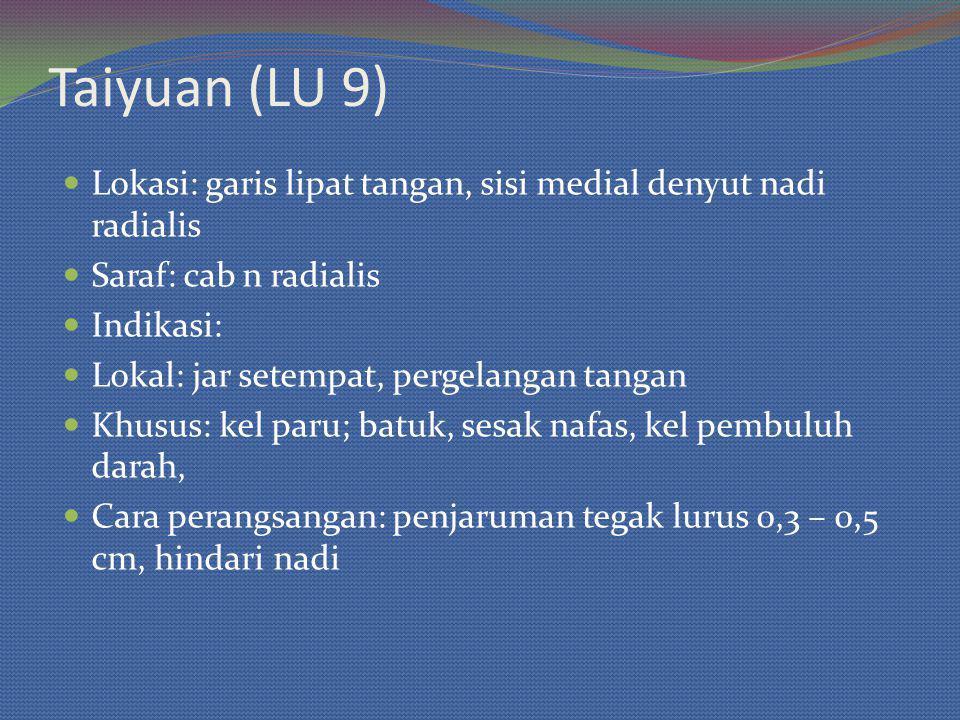 Taiyuan (LU 9) Lokasi: garis lipat tangan, sisi medial denyut nadi radialis. Saraf: cab n radialis.