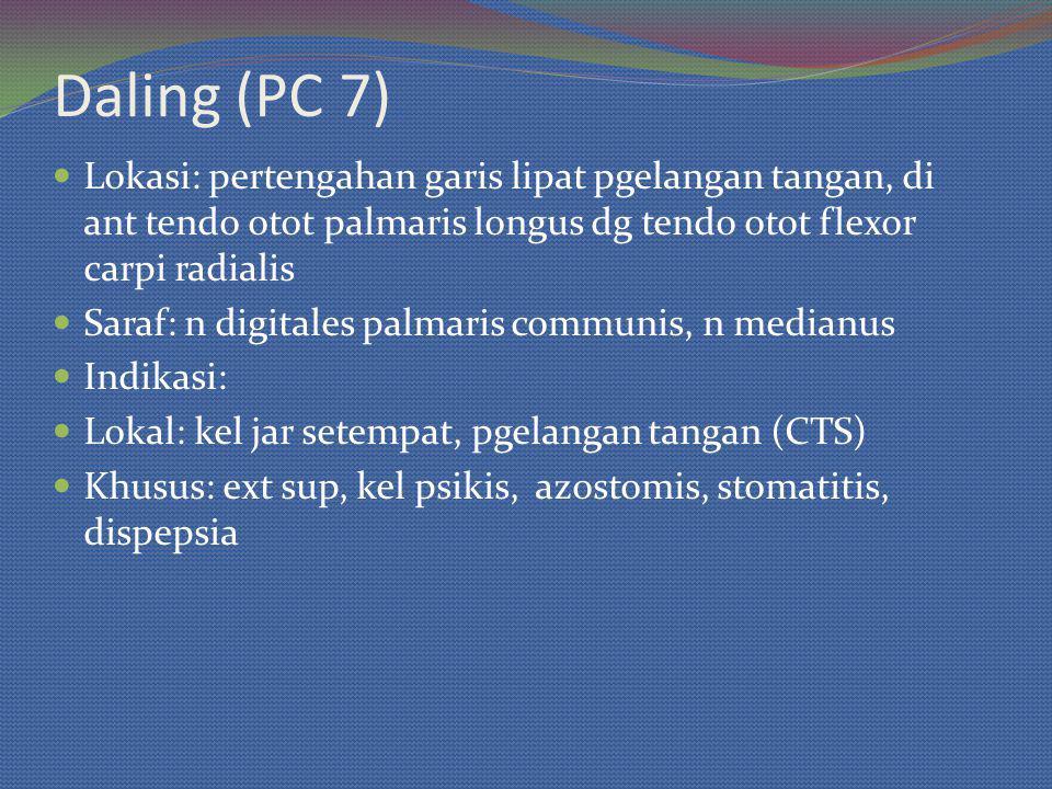 Daling (PC 7) Lokasi: pertengahan garis lipat pgelangan tangan, di ant tendo otot palmaris longus dg tendo otot flexor carpi radialis.