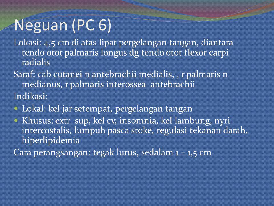 Neguan (PC 6) Lokasi: 4,5 cm di atas lipat pergelangan tangan, diantara tendo otot palmaris longus dg tendo otot flexor carpi radialis.