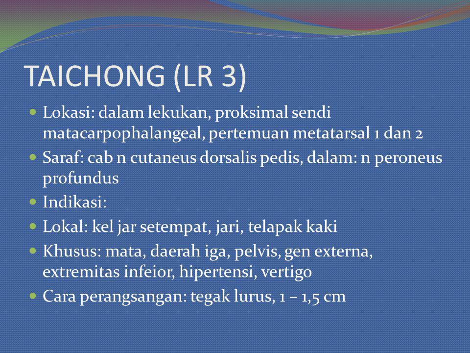 TAICHONG (LR 3) Lokasi: dalam lekukan, proksimal sendi matacarpophalangeal, pertemuan metatarsal 1 dan 2.