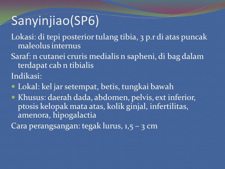 Sanyinjiao(SP6) Lokasi: di tepi posterior tulang tibia, 3 p.r di atas puncak maleolus internus.