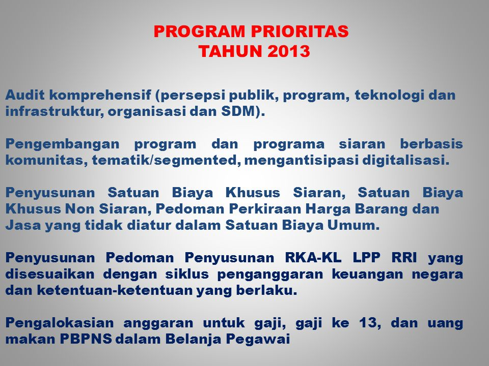 PROGRAM PRIORITAS TAHUN 2013