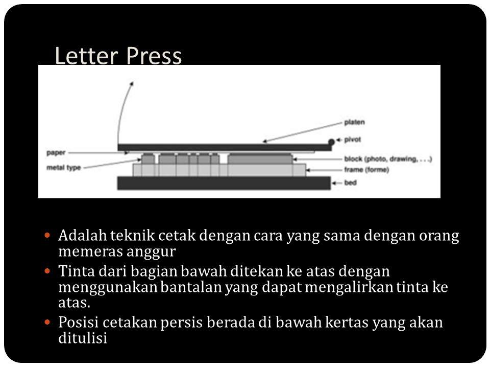 Letter Press Adalah teknik cetak dengan cara yang sama dengan orang memeras anggur.