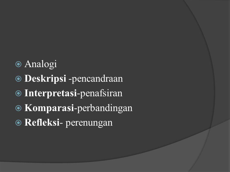 Analogi Deskripsi -pencandraan Interpretasi-penafsiran Komparasi-perbandingan Refleksi- perenungan
