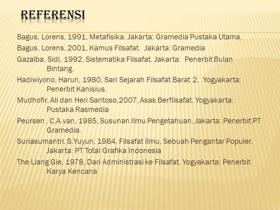 REFERENSI Bagus, Lorens, 1991, Metafisika. Jakarta: Gramedia Pustaka Utama. Bagus, Lorens, 2001, Kamus Filsafat. Jakarta: Gramedia.