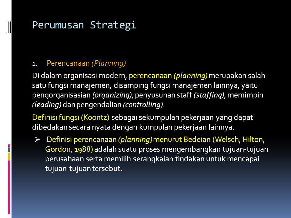 Perumusan Strategi Perencanaan (Planning)