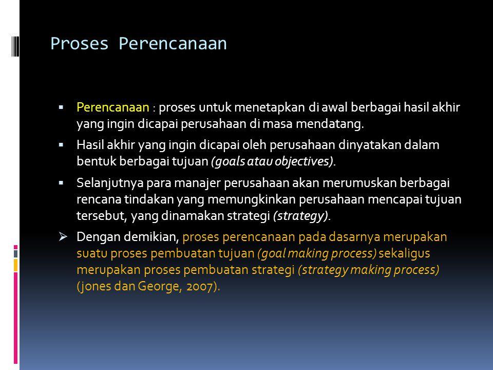 Proses Perencanaan Perencanaan : proses untuk menetapkan di awal berbagai hasil akhir yang ingin dicapai perusahaan di masa mendatang.