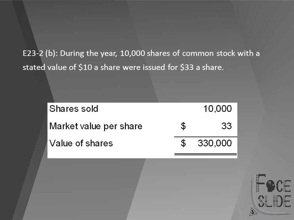 E23-2 (b): During the year, 10,000 shares of common stock with a stated value of $10 a share were issued for $33 a share.