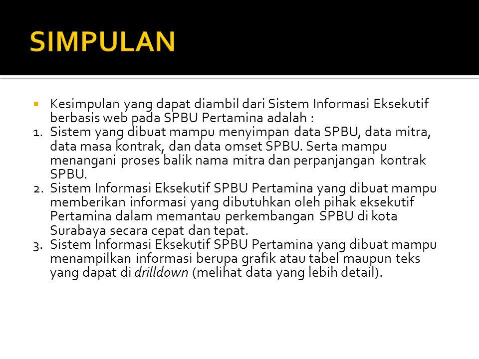 SIMPULAN Kesimpulan yang dapat diambil dari Sistem Informasi Eksekutif berbasis web pada SPBU Pertamina adalah :