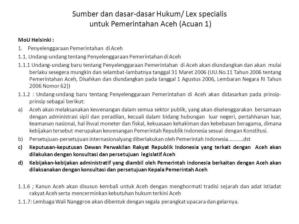 Sumber dan dasar-dasar Hukum/ Lex specialis untuk Pemerintahan Aceh (Acuan 1)