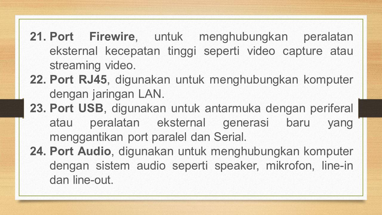 Port Firewire, untuk menghubungkan peralatan eksternal kecepatan tinggi seperti video capture atau streaming video.
