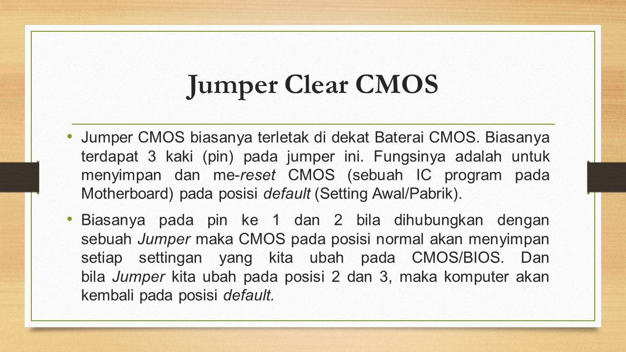 Jumper Clear CMOS