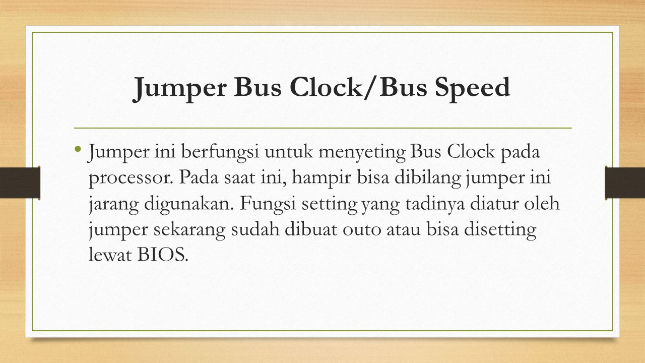 Jumper Bus Clock/Bus Speed