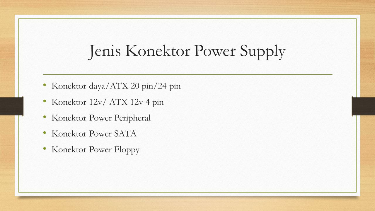 Jenis Konektor Power Supply