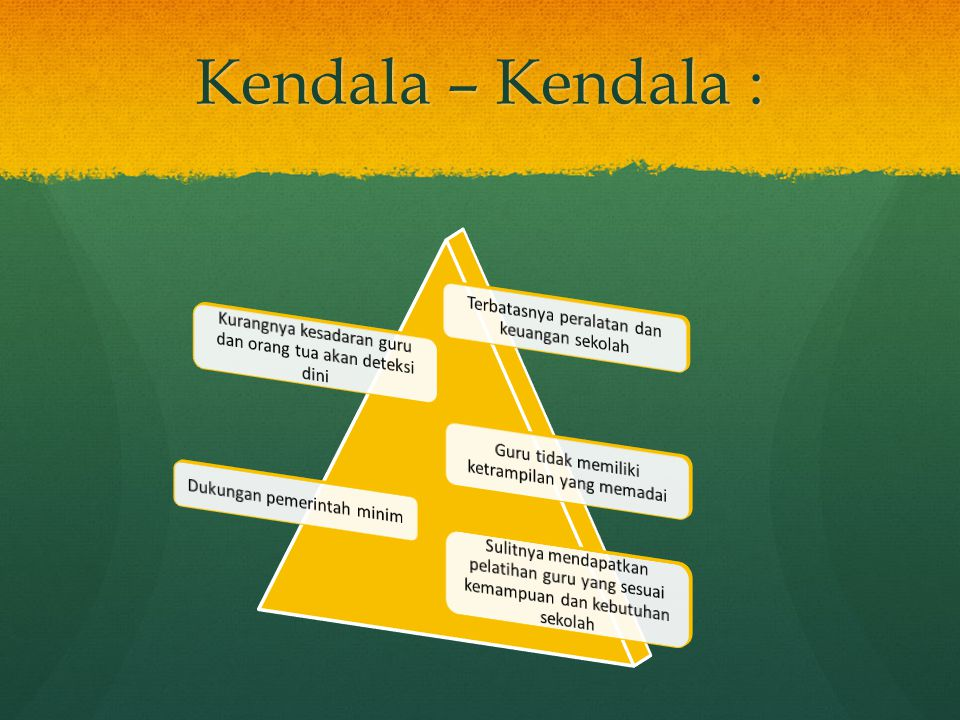 Kendala – Kendala : Terbatasnya peralatan dan keuangan sekolah