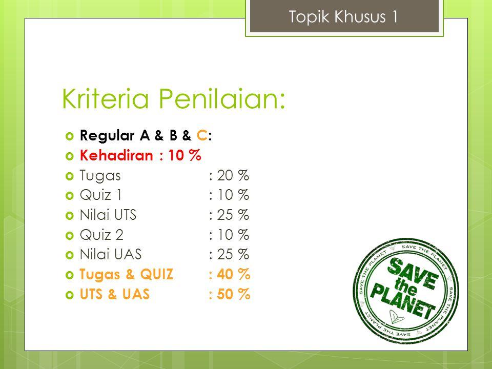 Kriteria Penilaian: Topik Khusus 1 Regular A & B & C: Kehadiran : 10 %
