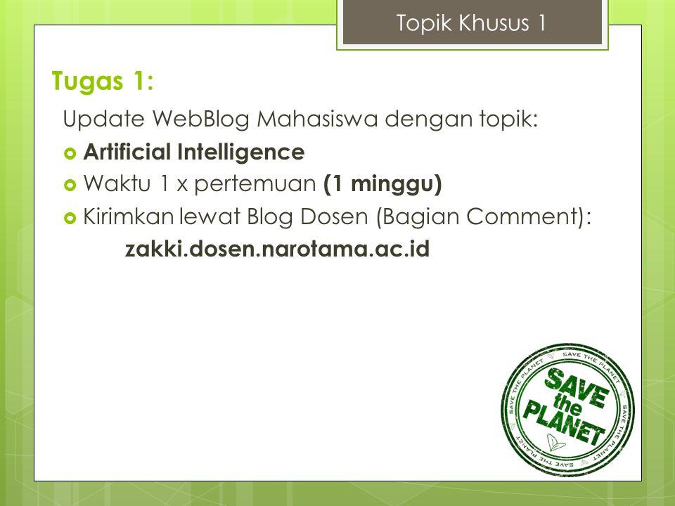 Tugas 1: Topik Khusus 1 Update WebBlog Mahasiswa dengan topik: